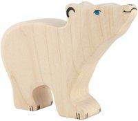 Holztiger Eisbär, klein, Kopf hoch