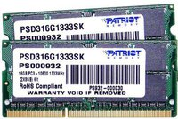 Patriot Signature 16GB Kit SO-DIMM DDR3 PC3-10600 CL9 (PSD316G1333SK)