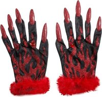 Widmann Teufelshandschuhe mit Glitterfingernägeln