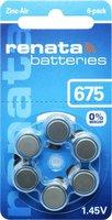 Renata 6x Hörgerätebatterie Zink-Luft ZA675 1,4 V