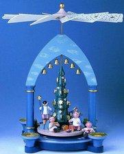 KWO Olbernhau 1-stöckige Pyramide Engel und Weihnachtsbaum (30 cm)