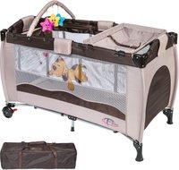 TecTake Reisebett höhenverstellbar mit Babyeinlage Coffee