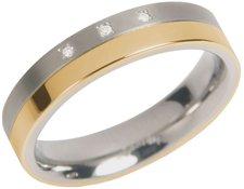 Boccia Edelring teilgoldplattiert Titan Brillanten (01290453)