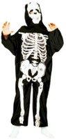 Funny Fashion Kostüm Skeleton schwarz mit Haube