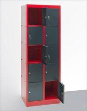 Dema Schließfachschrank 10 Fächer rot/anthrazit (40566)