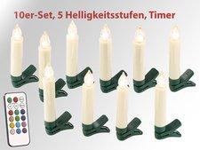 Lunartec LED-Weihnachtsbaumkerzen 10er Set mit Fernbedienung (NC-6197)