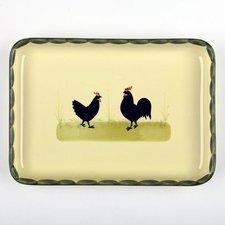 Zeller Keramik Hahn und Henne Platte 27 x 19 cm
