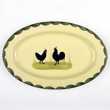 Zeller Keramik Hahn und Henne Platte 32 cm
