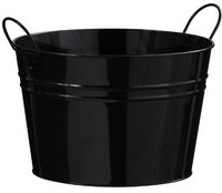 Premier Housewares Runder Zink-Eimer mit 2 Griffen (schwarz)
