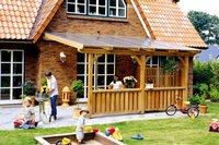 Skanholz Terrassenüberdachung 434 x 400 cm, Leimholz ohne Mittelpfosten