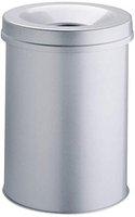 Durable Safe Papierkorb mit Flammenlöschkopf metallic silber (15 L)