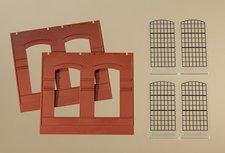 Auhagen Wände 2326B rot Industriefenster E (80504)