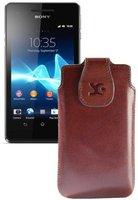 SunCase Ledertasche Braun (Sony Xperia V)