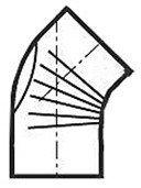 Muldenthaler Bogen gerippt 45° mit Reinigungsöffnung FAL pu weiß (2BG45RÖW)