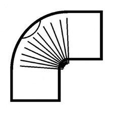 Muldenthaler Bogen gerippt 90° mit Reinigungsöffnung FAL pu weiß Ø 130 mm (2BG-90130RÖW)