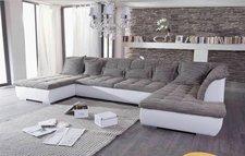Kasper Wohndesign Florenz Ecksofa Recamiere und Ottomane weiß grau