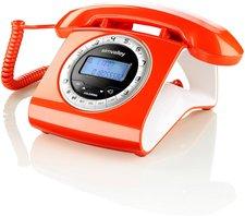 Simvalley Schnurgebundenes Retro-Festnetztelefon orange