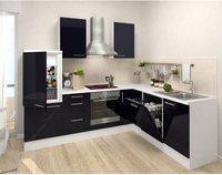 Respekta Premium L Küche weiß schwarz (260x200 cm)