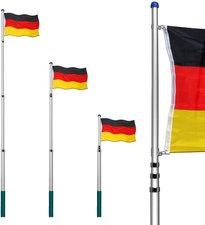 Deuba24 Alu-Fahnenmast 6,20 m + Deutschlandfahne 150 x 90cm