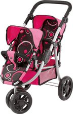 Bayer Design Zwillingspuppenwagen Jogger Twin schwarz pink