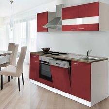 Respekta Küchenzeile 220 cm weiß rot (KB220WR)