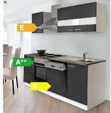 Respekta Küchenzeile 220 cm weiß grau (KB220WG)