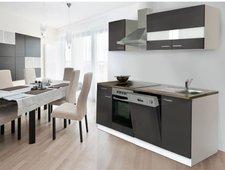 Respekta Küchenzeile 220 cm weiß grau (KB220WGC)