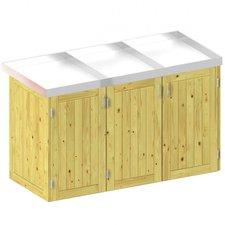 TraumGarten Mülltonnenbox Nadelholz für 3 x 240 Liter Tonnen mit Pflanzschalen