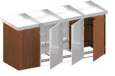TraumGarten Mülltonnenbox Hartholz Edelstahl für 4 x 240 Liter Tonnen mit Pflanzschalen