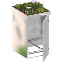 TraumGarten Mülltonnenbox Edelstahl für 1 x 240 Liter Tonne mit Pflanzschale