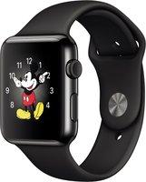 Apple Watch 42mm Edelstahlgehäuse mit Sportarmband black