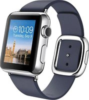 Apple Watch 38mm Edelstahlgehäuse mit Lederarmband midnight blue