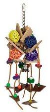 Nobby Vogelspielzeug mit Holz, Leder und Weide (43 x 18 cm)