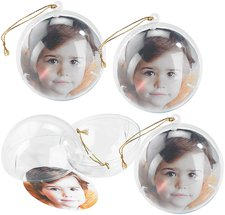 Your Design Transparente Weihnachtsbaum-Kugel mit Ihrem Foto (4er Set)