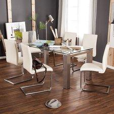 MCA-furniture Freischwinger Echtleder creme weiß (3017SLW)