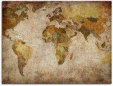 Art-Land Weltkarte Leinwandbild auf Keilrahmen (45 x 60 cm)