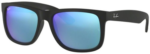 Ray Ban Justin RB4165 622/55 black rubber/green mirror blue