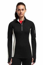 Icebreaker Women's Atom Long Sleeve Zip Black / Snow