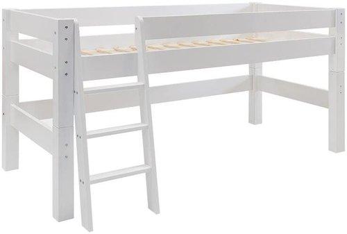 Dolphin Furniture Halbhohes Bett Moby mit schräger Leiter - weiß