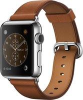 Apple Watch Edelstahl 38mm Lederarmband sattelbraun