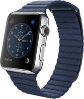 Apple Watch Edelstahl 42mm Lederarmband mit Schlaufe mitternachtsblau