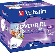 Verbatim DVD+R DL 8,5GB 240min 8x ganzflächig Tintenstrahl bedruckbar 10er Jewelcase