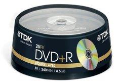 TDK DVD+R DL 8,5GB 240min 8x 25er Spindel