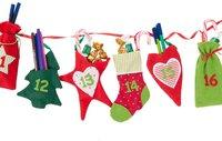 Hotex Adventskalender-Girlande aus Stoff rot/grün