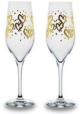 Bohemia Cristal Champagnerkelch heart gold 2er Set