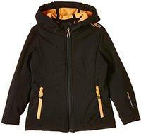 CMP Campagnolo Girls Softshell Jacket Fix Hood Nero-Orange Pop