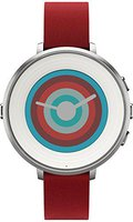 Pebble Time Round 14 mm silber/rot