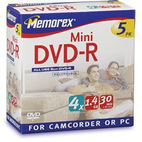 Memorex DVD-R Mini 1,4GB 30min 4x 5er Jewelcase