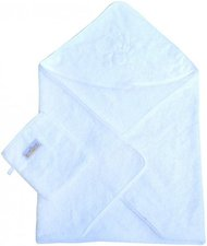 Baby-Plus Kapuzen-Badetuch mit Waschhandschuh Weiß