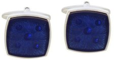 Code Red Base Metal Rhodium Plated With Blue Shades Of Enamel Cufflinks